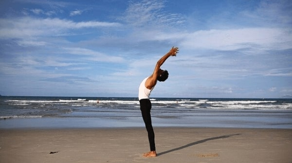 raised arms pose also called hastauttanasana. It helps to strengthen the back muscles