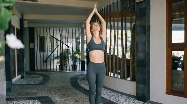 learn yoga at home tadasana mountain pose. Helps relieve back pain.