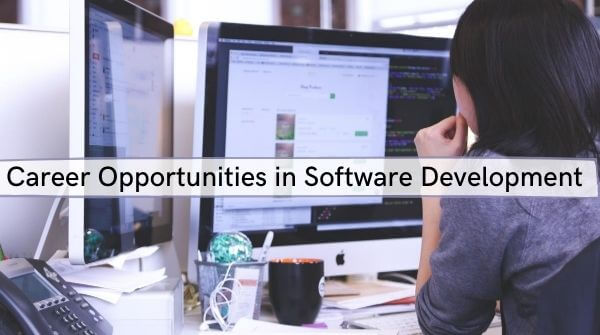 The image shows various career options, software development jobs for freshers, certain trends related to Software development worldwide.