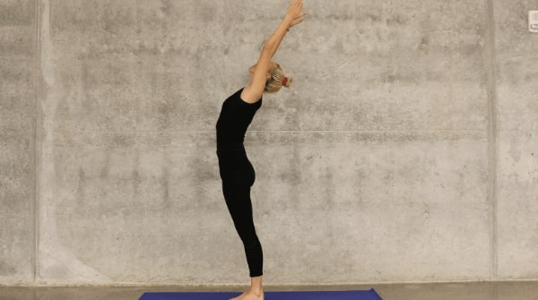 Learn Yoga at Home-Raised Arms pose or hastauttanasana. Extremely beneficial for reproductive health