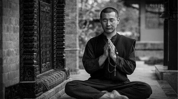 a man meditating in ancient times