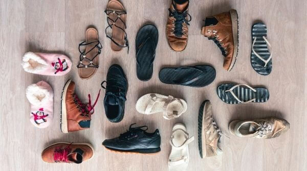 A wide variety of footwear that will match with an outfit for rainy day.