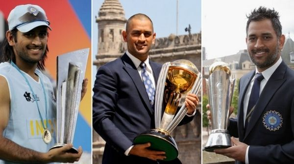 Indian Captain holding all the three ICC Tournament Trophies for which he worked so hard from the Date of Birth