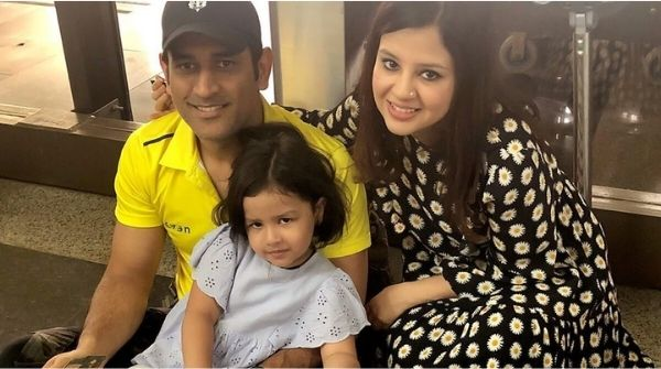 Picture of Family of MS Dhoni, with his wife and daughter.