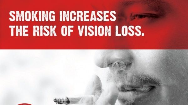 The harmful ill effect caused by smoking is, the person will get many eye diseases which will lead to loss of vision.