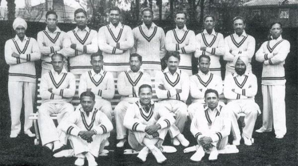 India's first-ever test team dressed in their complete white traditional test kit