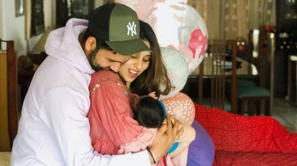 Rohit Sharma with his Wife after being a father at the age of 31