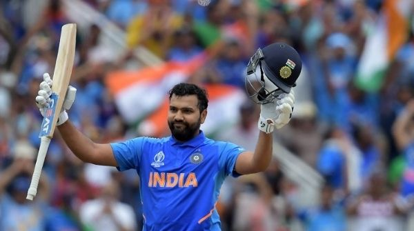 Sharma celebrating as he scores another century in the World Cup