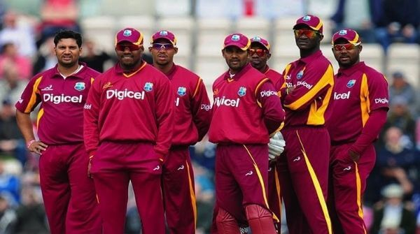 West Indies Cricket Team Players in their ODI cricket jersey and trousers.