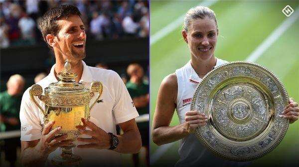 Simona Halep and Nova Djokovic receive Wimbledon prize money and trophy for winning the 2019 Championship