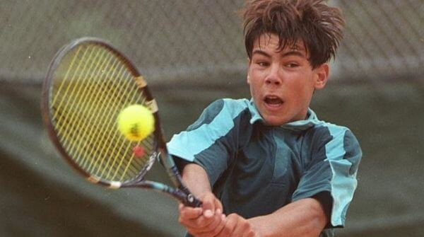 Young Rafael Nadal winning his first ATP point