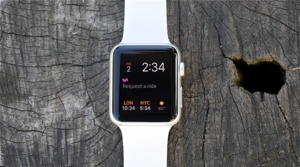 Apple Watch series 1 with white color strap