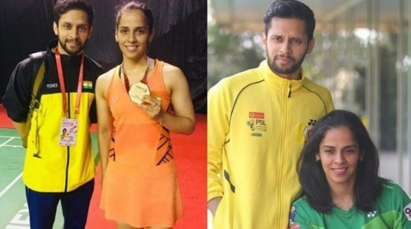 Husband Kashyap supporting her wife Saina Nehwal in the Indonesian Masters.