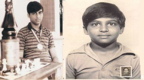 Anand as the young Chess Champion posing with his medal