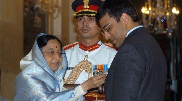 The Indian Grandmaster receiving National Honorary award Padma Vibhushan from former President Smt. Pratibha Patel