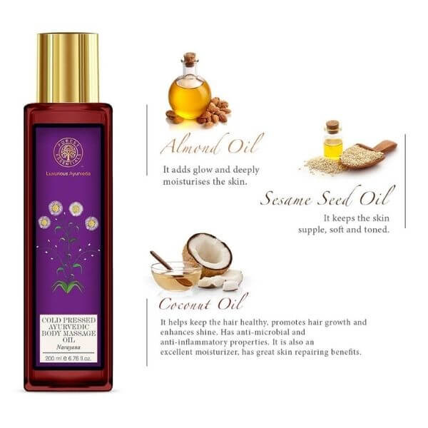 An illustration of Narayana body massage oil with its key ingredients- almond oil, sesame oil and coconut oil.