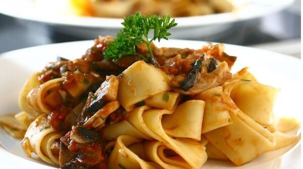 A tasty Pappardelle dish.